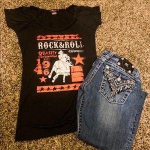 Rock and Roll Cowgirl Barrel Racing Tee
